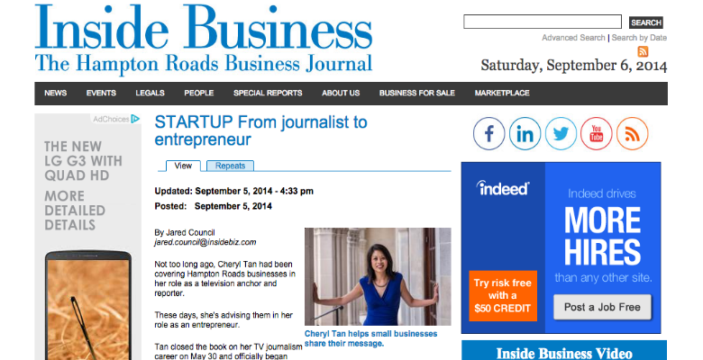 Cheryl Tan featured in Inside Business
